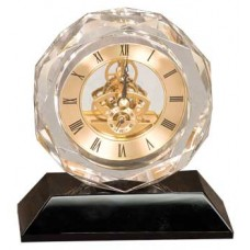 5 3/4 inch Clear Crystal Clock with Black Pedestal Base